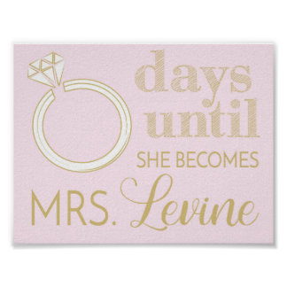 Wedding Countdown Sign, Write and Wipe Countdown Poster