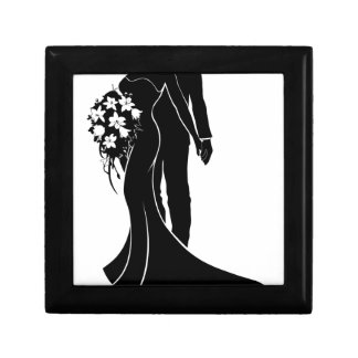 Wedding Couple Bride and Groom Silhouette Small Square Gift Box