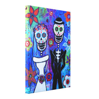 Wedding Couple Dia de los Muertos Canvas Print