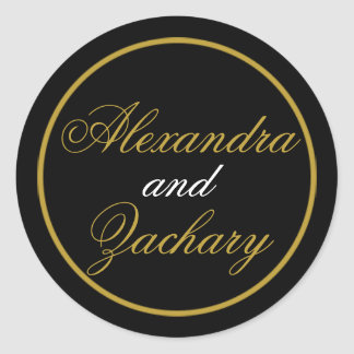 Wedding Couple Favor Welcome Bag Black Gold Classic Round Sticker
