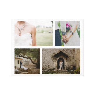 Wedding Couple Four Photo Minimalist Canvas Print