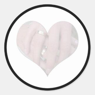 Wedding Couple Hands Together in Heart Round Sticker