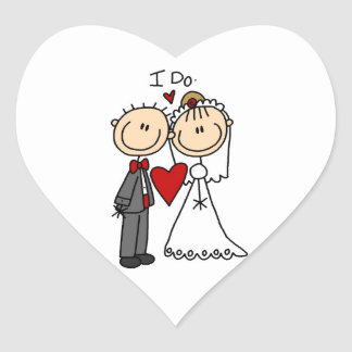 Wedding Couple I Do T-shirts and Gifts Heart Sticker