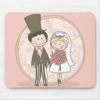 Wedding COuple in Pink Mouse Pad