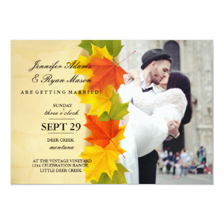 wedding couple kissing in street happiness/fall 13 cm x 18 cm invitation card