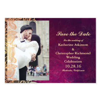 wedding couple kissing in street happiness/purple 13 cm x 18 cm invitation card