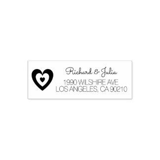 Wedding Couple Monogram | Hearts Return Address Self-inking Stamp
