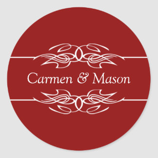 Wedding Couple Names Invitations Dark Red Seals Round Sticker