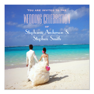 "Wedding Couple on a Sunny Tropical Beach 5.25"" Square Invitation Card"