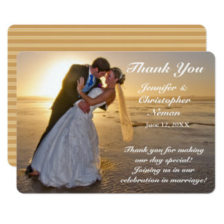 Wedding Couple on Sunset Beach Thank You Card