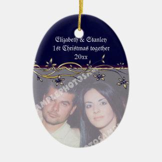 Wedding Couple s 1st Christmas photo Ornament