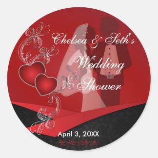 Wedding Couple Shower Round Stickers