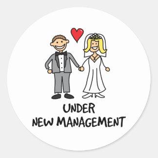 Wedding Couple - Under New Management Round Sticker