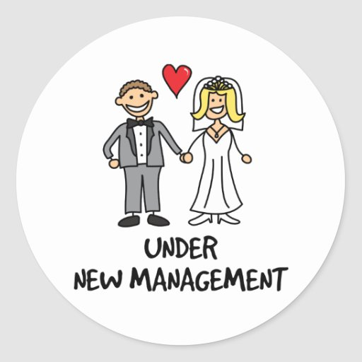 Wedding Couple - Under New Management Stickers
