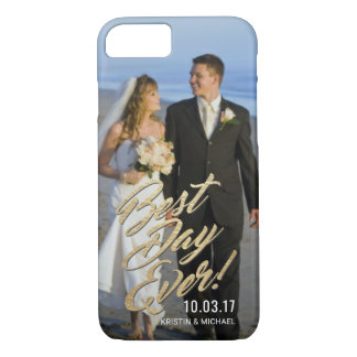 Wedding Couples Best Day Ever Gold Script Overlay iPhone 8/7 Case