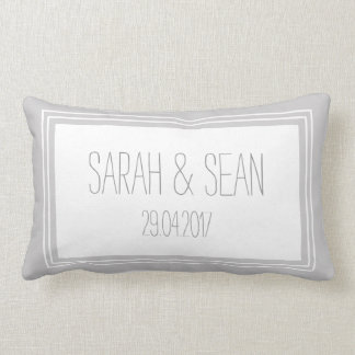 Wedding Couples Mongoram Pillow | Grey White