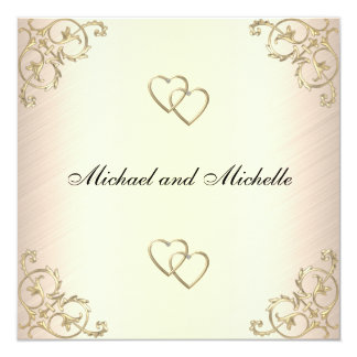 "Wedding Cream with Gold Metal Trims 5.25"" Square Invitation Card"
