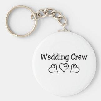Wedding Crew Black Hearts Key Chain