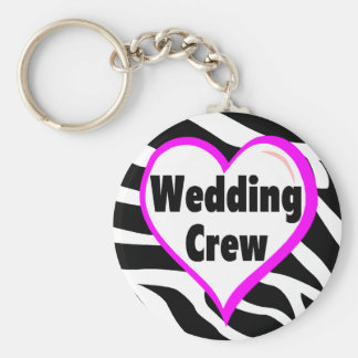 Wedding Crew Zebra Stripes Key Ring