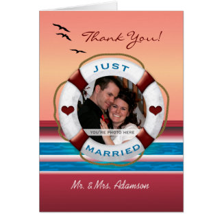 Wedding Cruise Your Photo Thank You - Sunset Card