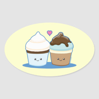Wedding Cupcakes Oval Stickers