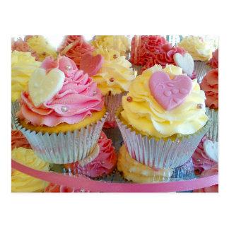 Wedding Cupcakes with Fondant Hearts Postcard