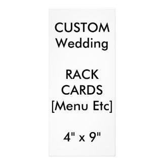 "Wedding Custom Menu & Program Cards 9""x4"" Vertical Full Colour Rack Card"