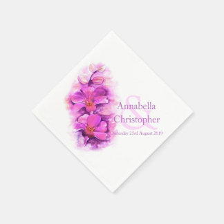 Wedding custom orchid watercolor paper napkin