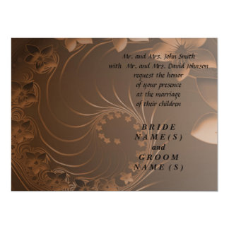 Wedding - Dark Brown Abstract Flowers Personalized Invites