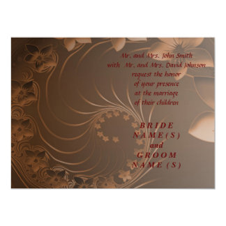 Wedding - Dark Brown Abstract Flowers 17 Cm X 22 Cm Invitation Card