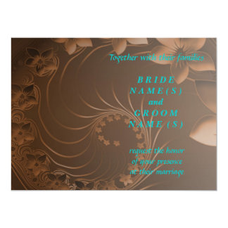 Wedding - Dark Brown Abstract Flowers 6.5x8.75 Paper Invitation Card