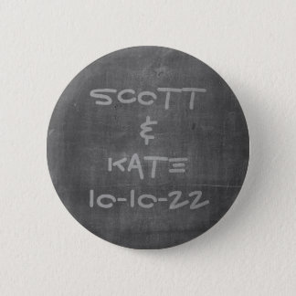 Wedding Date and Name Chalkboard 6 Cm Round Badge