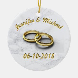 Wedding Date Bride & Groom Customizable Gold Rings Ceramic Ornament