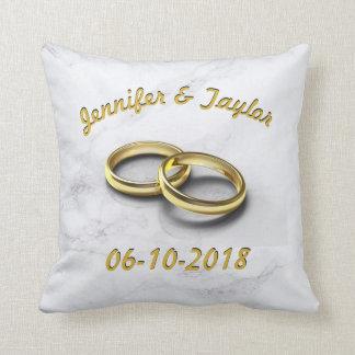 Wedding Date Bride & Groom Customizable Gold Rings Cushion
