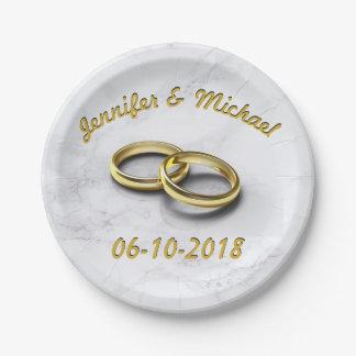 Wedding Date Bride & Groom Customizable Gold Rings Paper Plate
