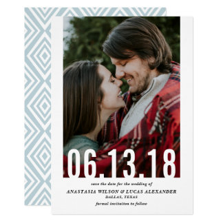 Wedding Date Cutout Vertical Photo Save the Date Card