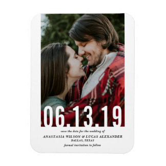 Wedding Date Cutout Vertical Photo Save the Date Magnet