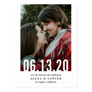 Wedding Date Cutout Vertical Photo Save the Date Postcard