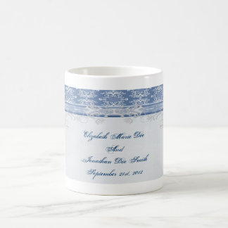 Wedding Date Damask Coffee Mug