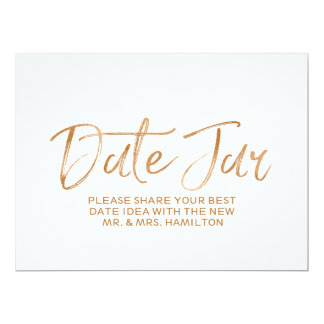 Wedding Date Jar Sign   Stylish Gold Rose Lettered Card