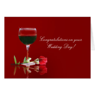 Wedding Day Congratulations Wine and Rose Card