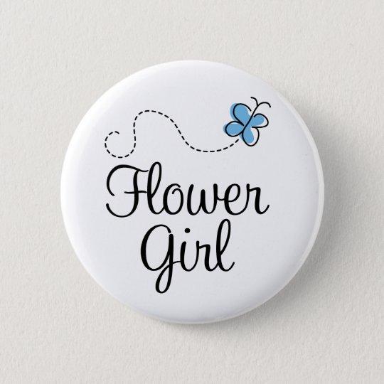 Wedding Day Flower Girl Blue Button