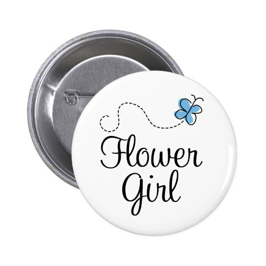 Wedding Day Flower Girl Blue Button