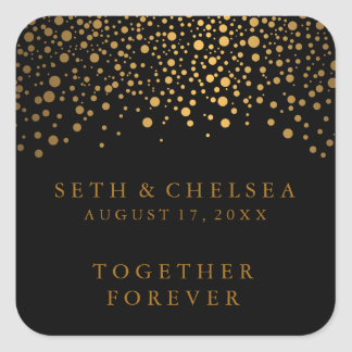 Wedding Day Gold Dots on Black | Personalize Square Sticker