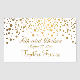 Wedding Day Gold Dots | Personalize Rectangular Sticker
