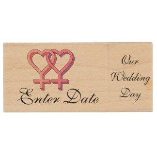 Wedding Day Hers & Hers  Real wood Flash Drive Wood USB 2.0 Flash Drive