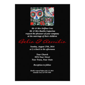 Wedding - Day Of The Dead - Mexican Woman Cat Custom Invite