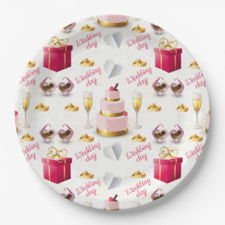 Wedding Day Pattern Paper Plate