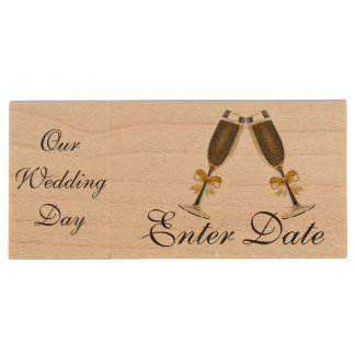 Wedding Day Pictures Real wood Flash Drive Wood USB 2.0 Flash Drive