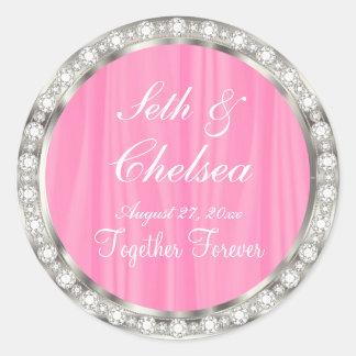 Wedding Day Pink Satin & Faux Diamonds Round Sticker